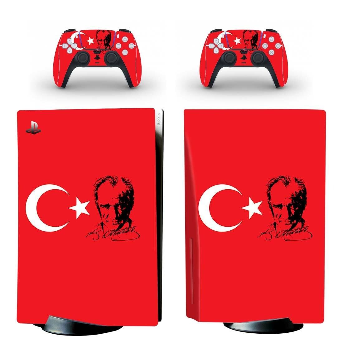 تركيا العلم PS5 القياسية القرص طبعة الجلد ملصق مائي غطاء ل بلاي ستيشن 5 وحدة التحكم و تحكم PS5 الجلد ملصق الفينيل