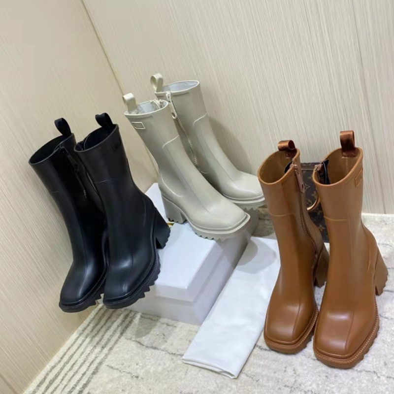 luxury square toe rain boots for woman chunky heel thick sole ankle boots designer chelsea ladies ru