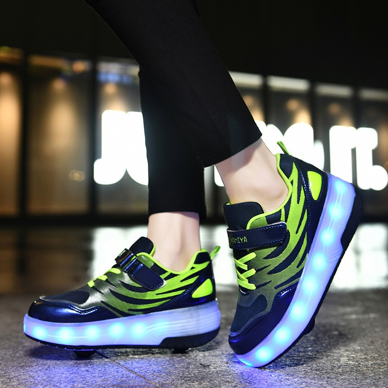2021 Boys Girls Sneakers LED Shoes Kids Two Wheels Roller Sneakers Winter Autumn Children Luminous Footwears Skates Casual Shoes enlarge