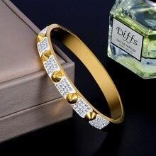 Moda cz contas pulseira de ouro pulseira de aço inoxidável cristal strass rebite marca de luxo festa pulseira feminino presente