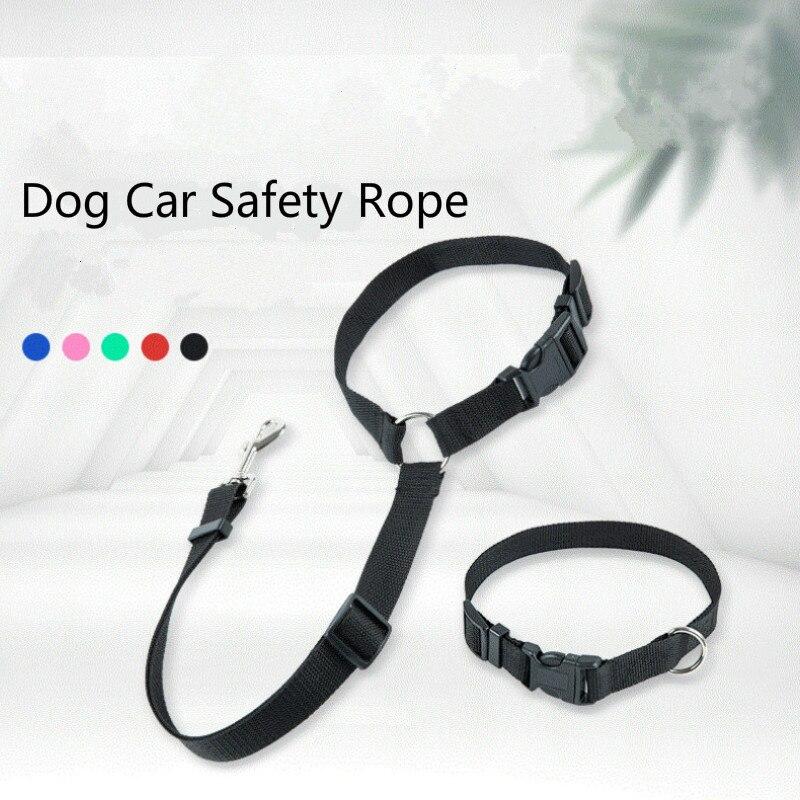 Suministros para mascotas, correa para perro, cuerda para mascotas para cinturón de seguridad 2 en uno de coche, Collar retráctil, correa de tracción de nailon, correa de seguridad para coche y perro