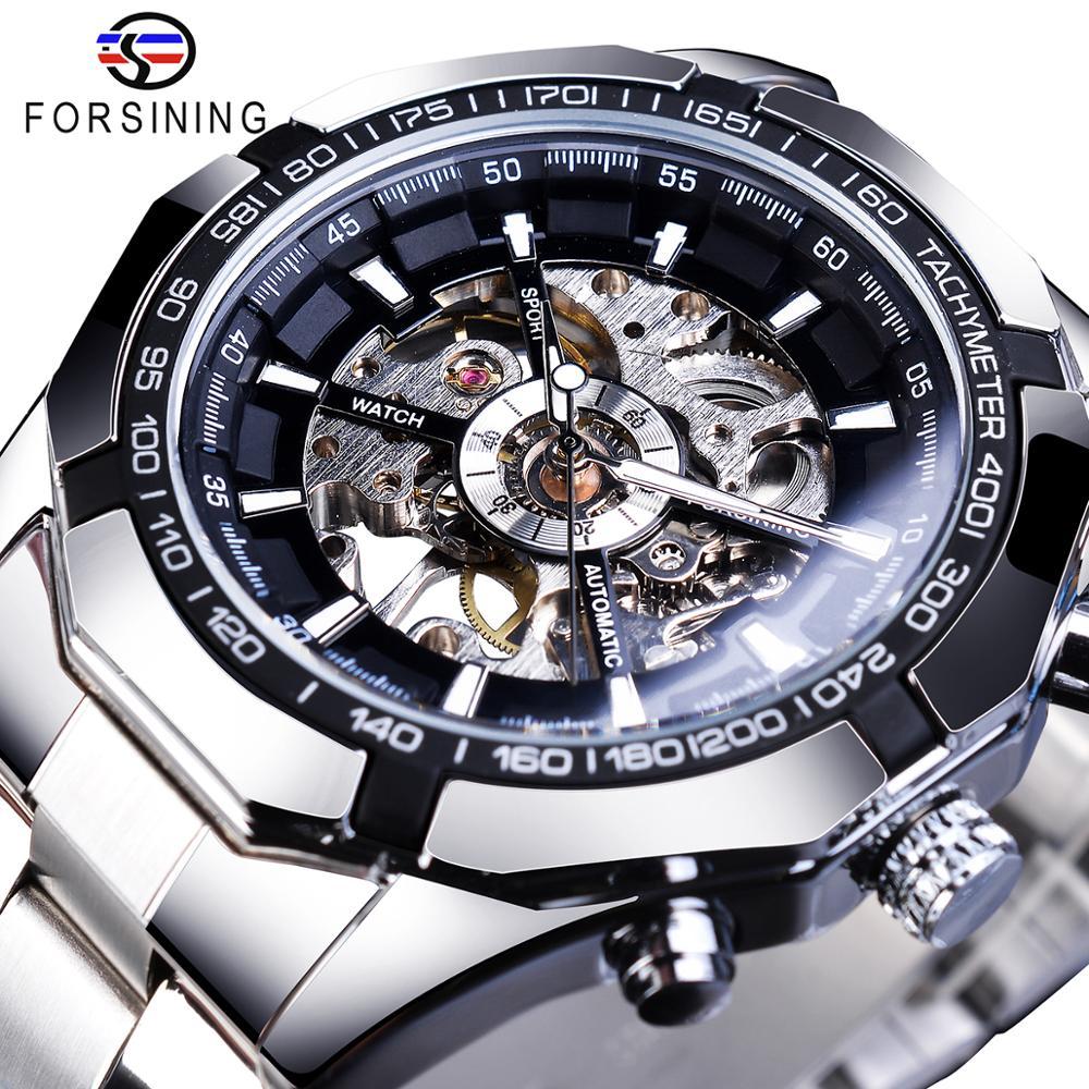 Relojes Forsining 2019 de acero inoxidable resistentes al agua para hombre, relojes de pulsera de lujo transparentes para hombre