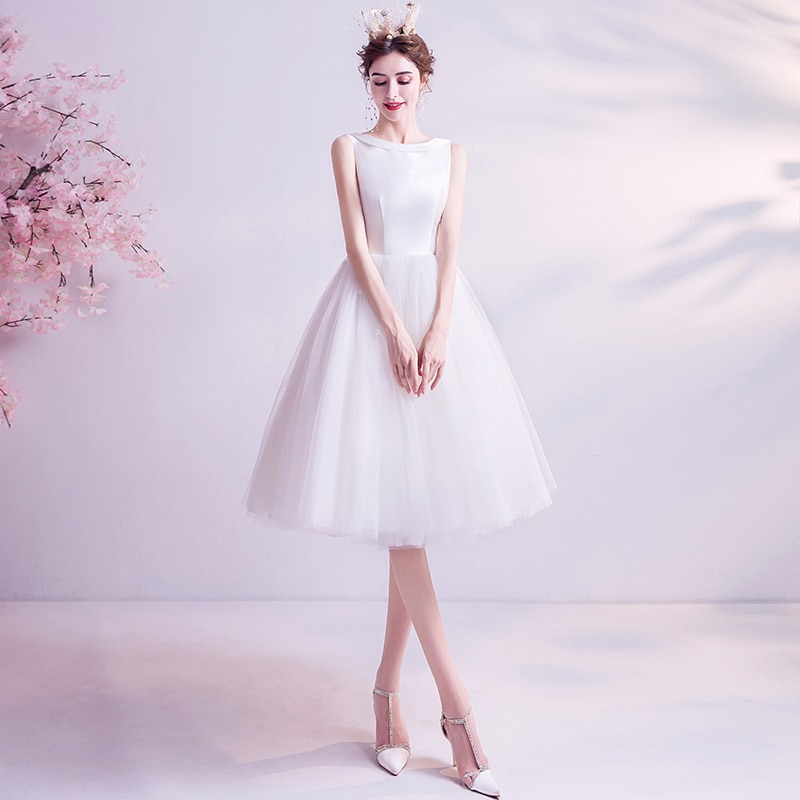 Evening Dresses Illusion O-Neck Sleeveless Lace Tulle Knee-Length A-Line Luxury White Embroidery Button Women Formal Gown TS622