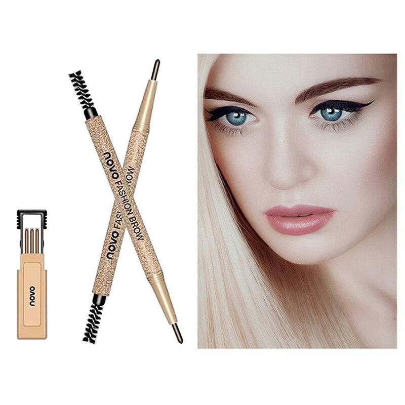 Novo nueva marca de 4 colores de cejas tinte cosméticos natural larga duración pintura de cejas impermeable negro marrón lápiz de cejas TSLM1
