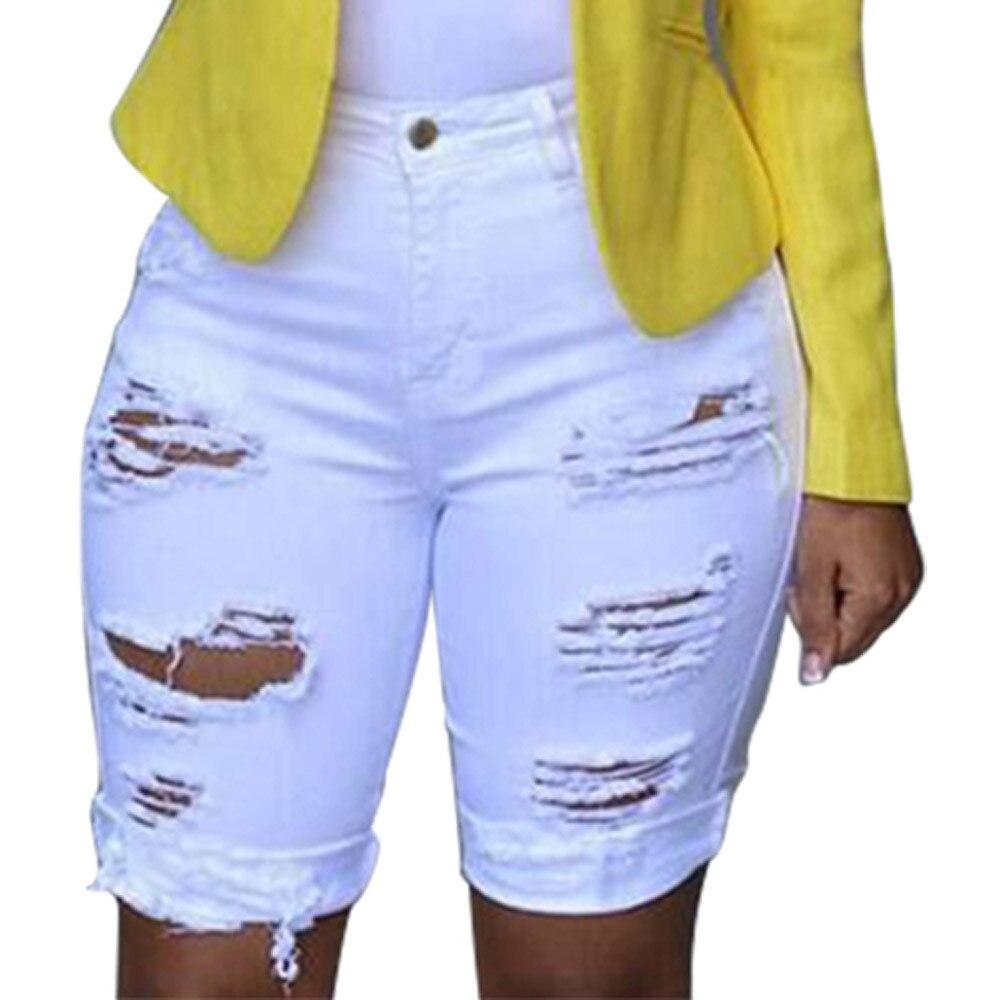 Denim Shorts Ripped Jeans Women Elastic Destroyed Hole Leggings Short Pants Jeans Skinny White Джинсы fashion jeans pants women low waist elastic destroyed hole frayed leggings джинсы plus size denim shorts knee ripped trousers