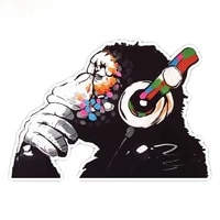 creativity thinker monkey headphones design wall art graffiti vinyl sticker urban art window car laptop decal