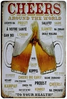 erlood cheers around the world drinking distressed metal retro wall decor vintage tin sign 8 x 12