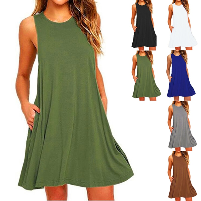 2020 New Arrivals Women Summer Fashion Sleeveless Sundress Solid Casual Short Evenging Party Dress P