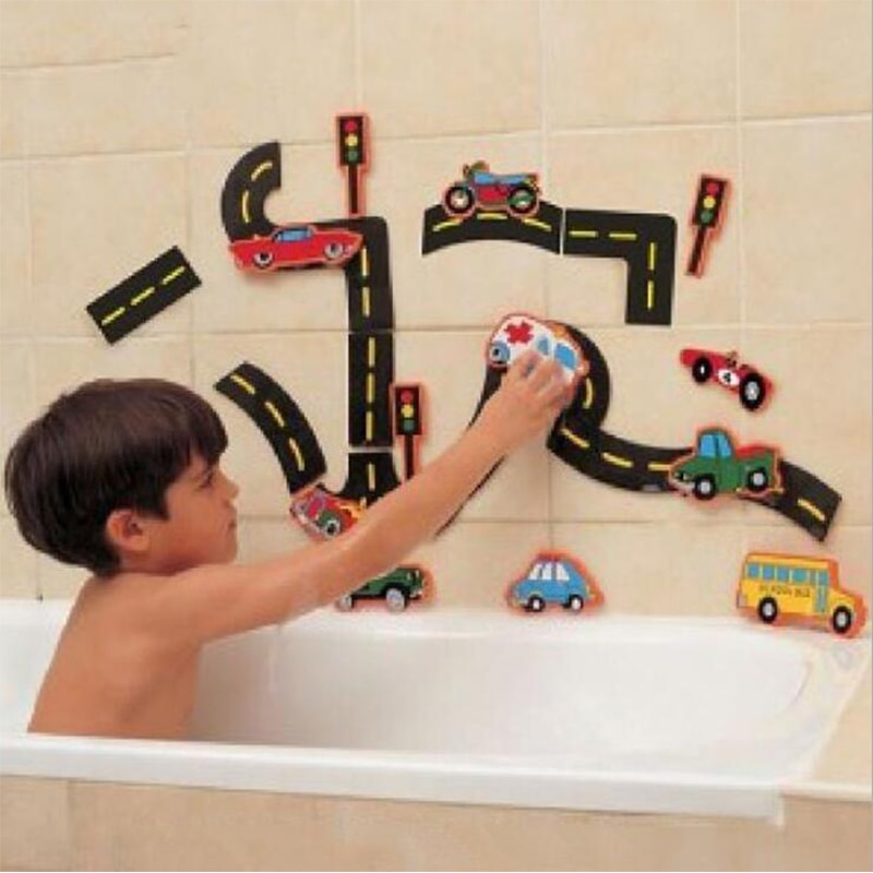 Way to play flexible Road Track Car Stick Bath Toy Kids Bathroom Bathtub Soft EVA Paste Early Education DIY Sticker Puzzles Toys