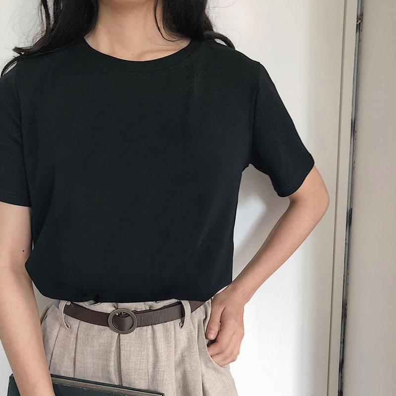 New Harajuku Tee Shirt 4 Solid Color Basic T Shirt Women Casual O-neck Friends Summer Top Korean Hipster Streetwear White Tshirt