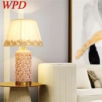 wpd ceramic table lamps rose luxury brass fabric desk light home decorative for living room dining room bedroom