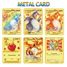 2021 nuove carte Pokemon Metal Card V Card PIKACHU Charizard Golden Vmax Card Collection regalo carte da gioco per bambini
