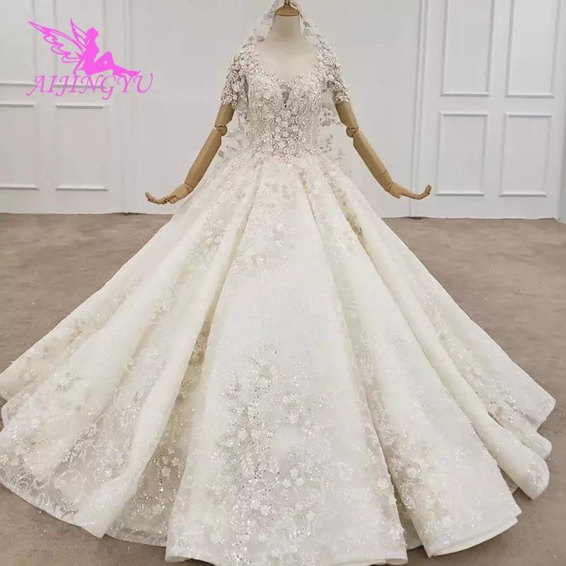 AIJINGYU-فستان زفاف أبيض هندي ، أكمام ، ثوب لامع ، حديث ، زينة