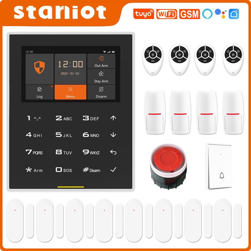 Staniot C500 Tuya WIFI GSM نظام إنذار أمان المنزل الذكي اللاسلكي مع لوحة مفاتيح TFT تعمل باللمس وشاشة عرض 4.3 بوصة