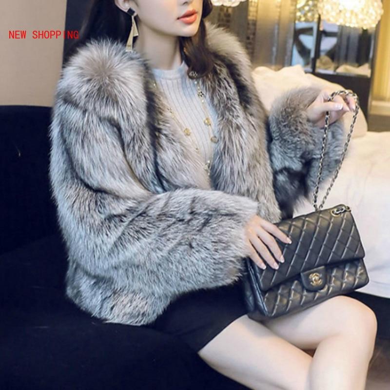 2020 Winter European Elegant Fashion Silver Fox Fur Coats Womens Luxurious Short Soft Warm Jackets Overcoats High Quality Lady