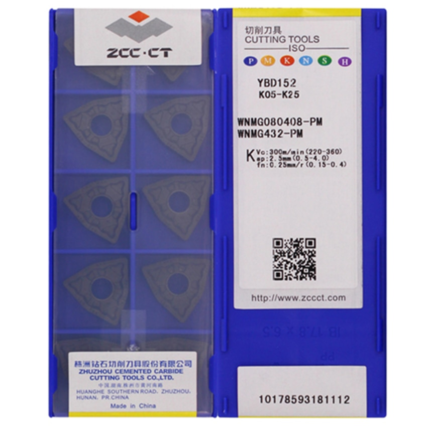 ZCC.CT  WNMG080404-PM/WNMG080408-PM YBD102   WNMG080404-PM/WNMG080408-PM/WNMG080412-PM YBD152  CNC carbide inserts 10PCS/BOX