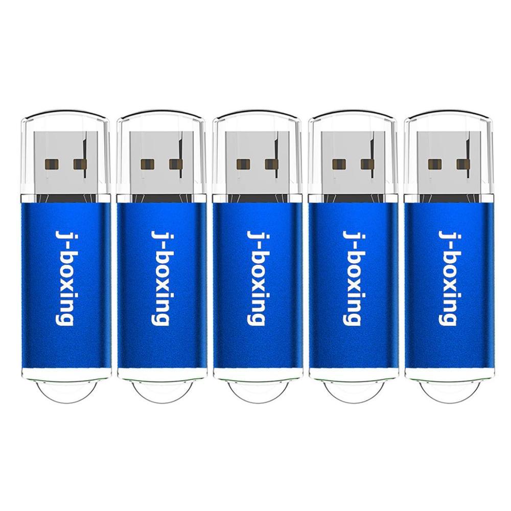 J-boxing USB Flash Drives 4GB 8GB Zip Drives Bulk 16GB 32GB Thumb Drives with Cap 1GB 2GB USB Sticks Blue 5PCS/PACK Blue for PC