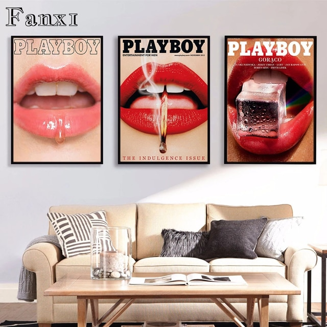 Fashion Canvas Painting Poster Wall Art Print Vogue Magazine Playboy Small Flowers Butterflies Red Lips Home Rooms Wall Decorati