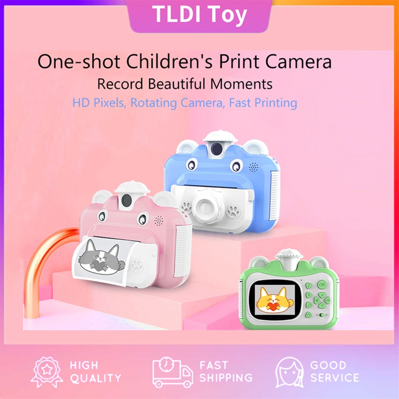 Girl Boy Kid Instant Print Camera Children Toys Rotatable Lens 1080P Hd Kids with Thermal Printing Paper Stickers Xmas Gift