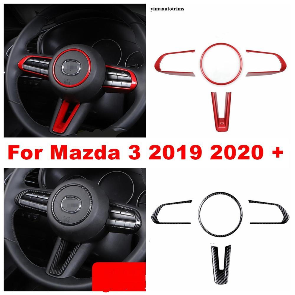 Garniture de couverture danneau de décoration de cadre de volant de voiture ajustement pour Mazda 3 berline de hayon 2019 2020 ABS rouge/aspect de Fiber de carbone