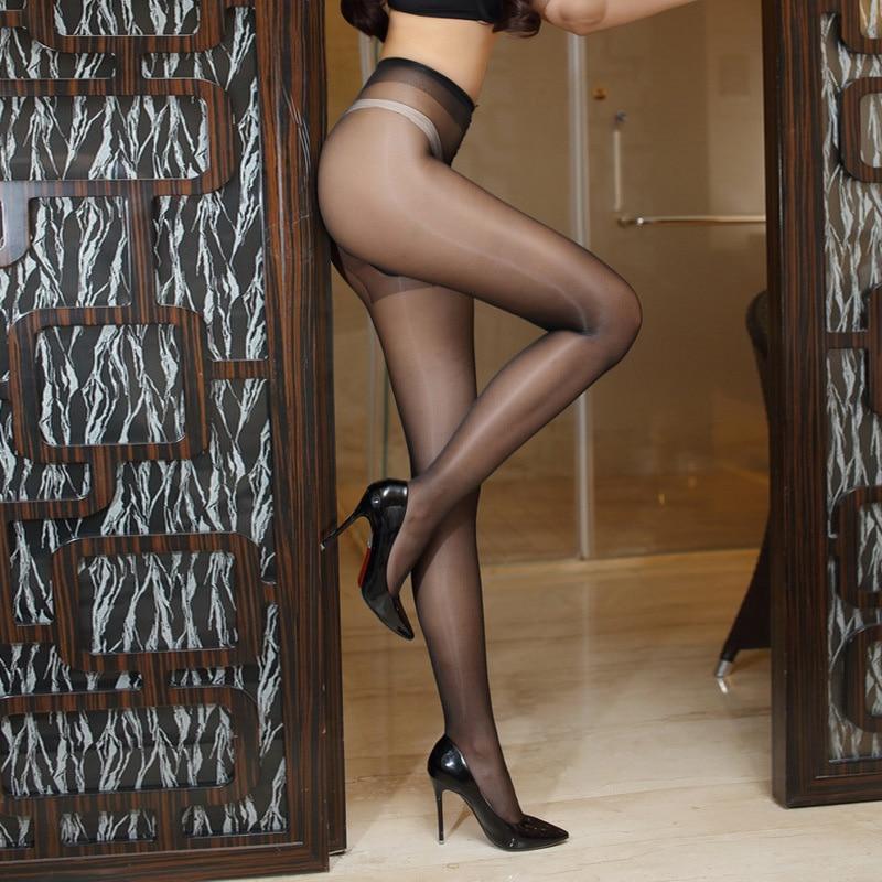 Novo 12d sexy respirável collants t-virilha feminino meias de biquíni elástico feminino ultra-fino náilon óleo brilho collants