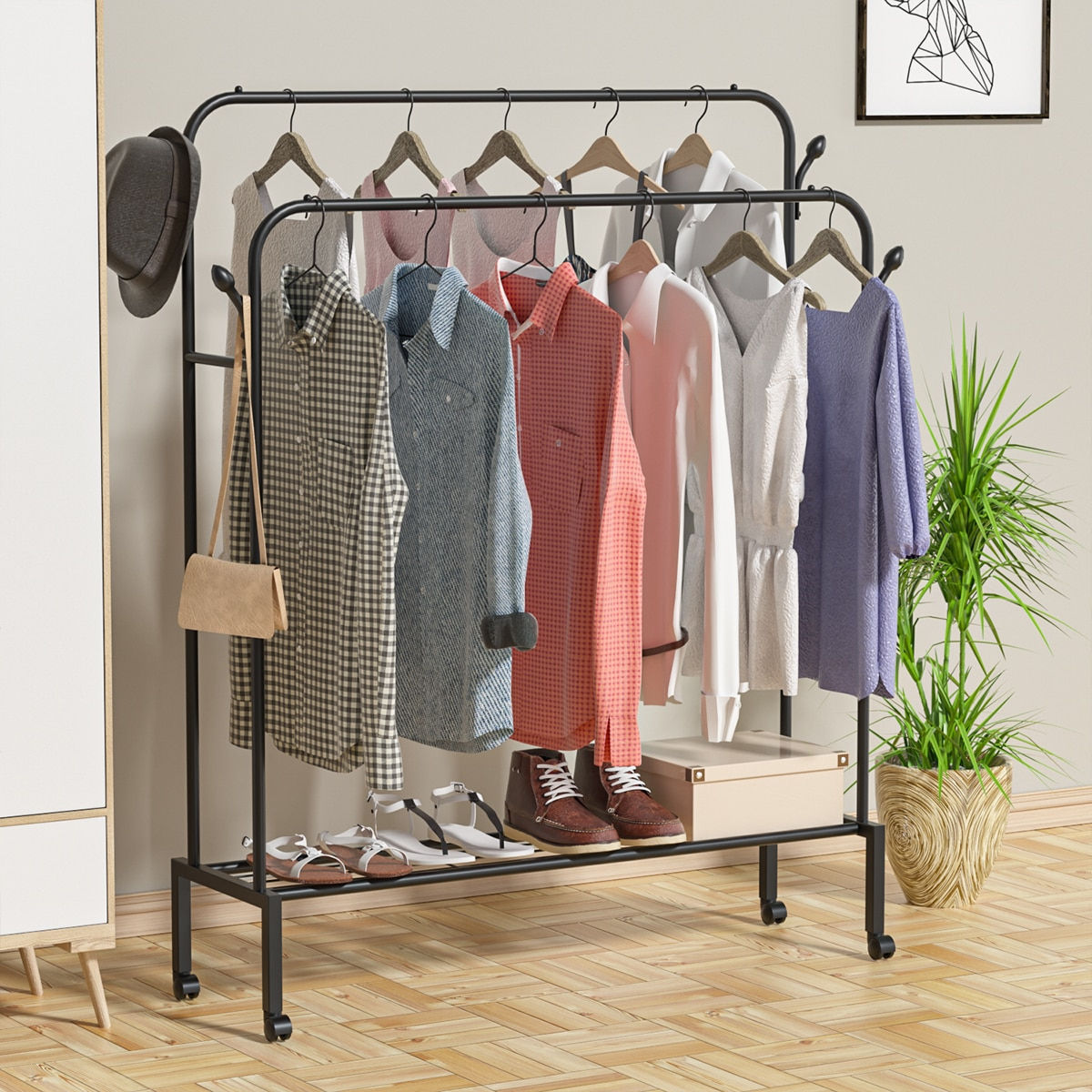Floor Drying Rack Double Rod Mobile Clothes Storage Rail Clothes Rack Hanger Reinforced Coat Rack Household Room Stand Shelf
