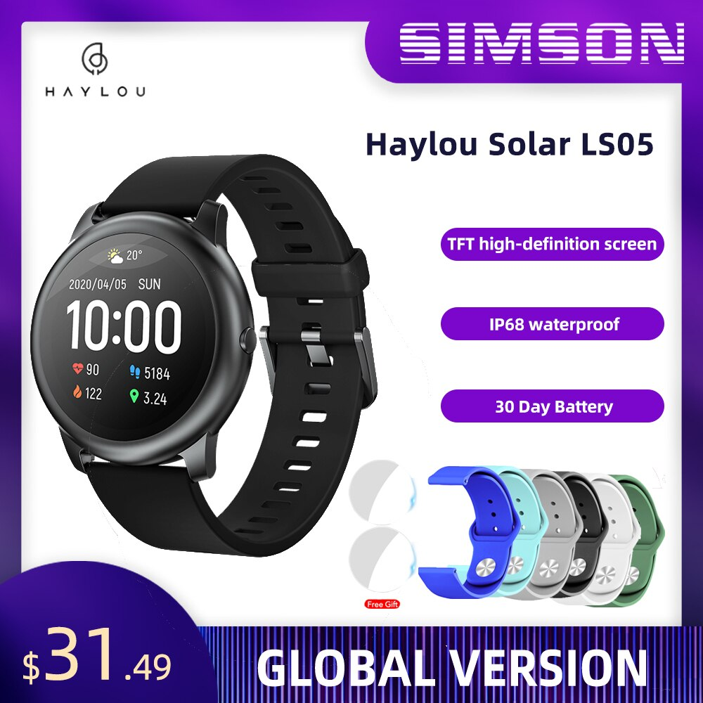 Haylou Solar Smart Watch LS05 Heart Rate Sleep Monitor IP68 Waterproof 30 Day Battery iOS Android  Sport Men Women
