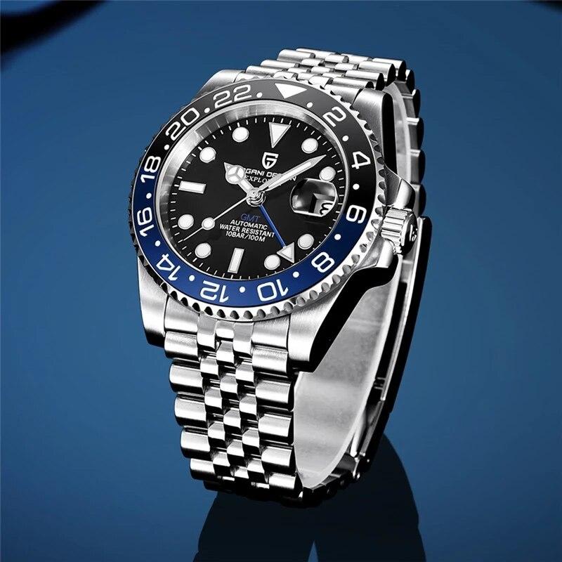 PAGANI DESIGN-ساعة يد رجالية كلاسيكية فاخرة ، ساعة يد من الياقوت والزجاج ، أوتوماتيكية ، 40 مللي متر ، GMT ، ميكانيكية ، مقاومة للماء حتى 100 متر