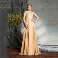 champagne mother of the bride dresses a line cap sleeves chiffon appliques beaded long groom mother dresses for weddings