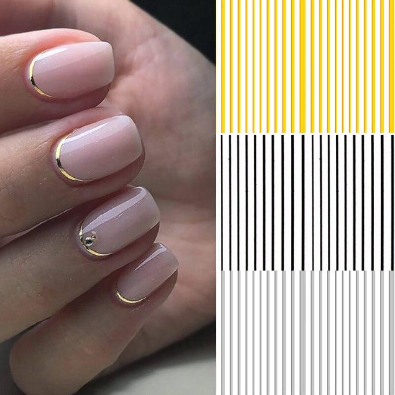 Adhesivos de plata y oro 3D para uñas, Metal negro, diseño de flores geométricas, adhesivos de transferencia, arte de uñas, herramientas de decoración de diseño DIY
