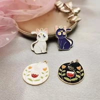 10 piecesbag of cute cat and fox animal enamel pendant pendant diy handmade gold metal pendant earrings jewelry pendant