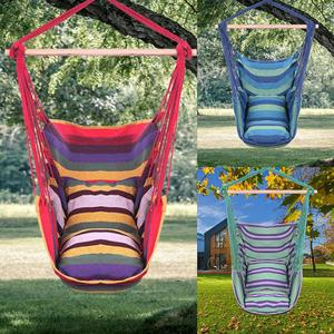 Garden Chair Hanging Swinging Indoor Outdoor Hammocks Thick Canvas Dormitory Swing With 2 Pillows Hammock Without Wooden Sticks