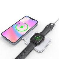 Зарядное устройство 2 в 1 для iPhone 12 Pro Magsafe, складное магнитное Беспроводное зарядное устройство с двойной зарядкой для Apple Iwatch 6 Airpods
