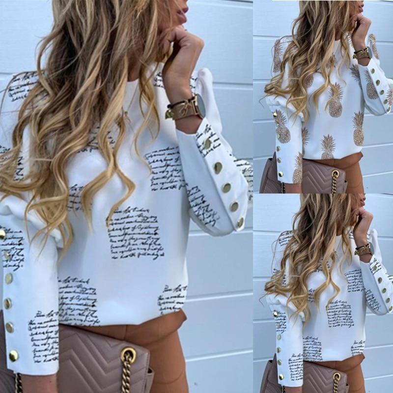 Fashion T Shirt Women Letter Printing Tshirt Button Round Collar Loose Long Sleeve Winter T-Shirt Bottoming Wild Casual T-shirt*