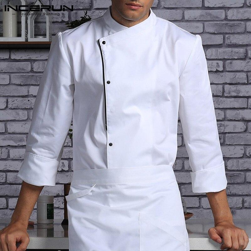 Hombres Chef uniforme de manga larga cocina servicio de comida Tops un solo Breasted overol restaurante cocina hombres ropa INCERUN