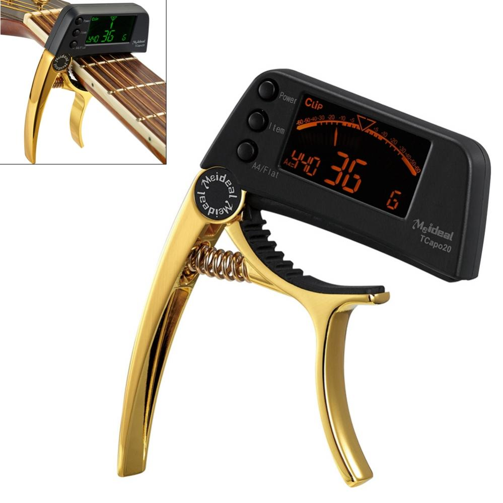 Guitar Tuner Capo 2 IN 1 Large LCD Screen Zinc Alloy Guitar Capo for Guitar Bass Chromatic Acoustic Guitar  Parts Accessories