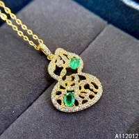 fine jewelry 925 pure silver inlaid natural emerald girl popular fashion gourd chinese style gem pendant necklace support detect