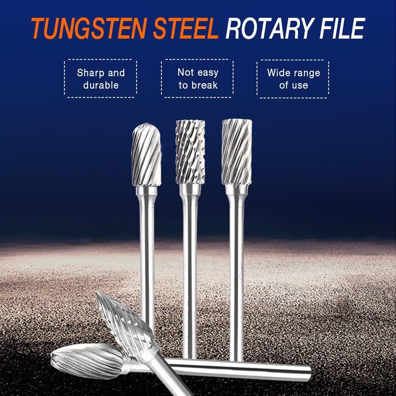 10 pz acciaio al tungsteno rettifica testa carburo di tungsteno frese - Utensili abrasivi - Fotografia 5