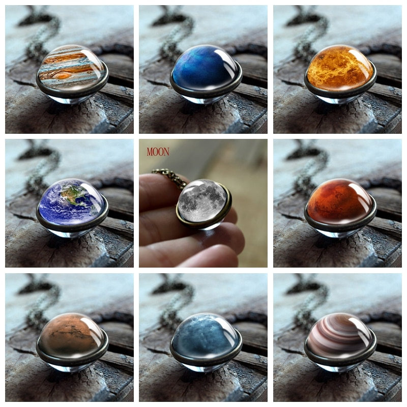 Solar System Double Sided Pendant Necklace Universe Nebula Planet Jewelry Earth Mars Sun Neptune Art Picture Handmade Necklaces baby professor our solar system sun moons