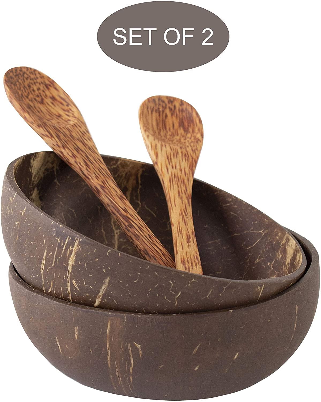Juego de cuencos de coco y cuchara de madera, 100% de regalo...
