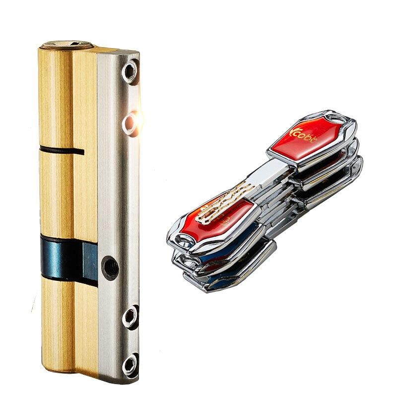 C-class قفل الأساسية اسطوانة الأوروبي القياسية الفولاذ المقاوم للصدأ باب أمان قفل البوابة اسطوانة مع 10 قطعة مفاتيح