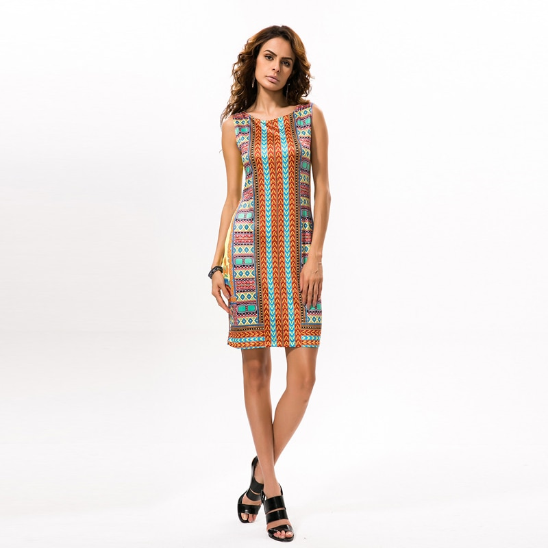 Fashion Round-Neck Ethnic Style Classic High Elastic Print Slim Bag Hip African Womens Dress