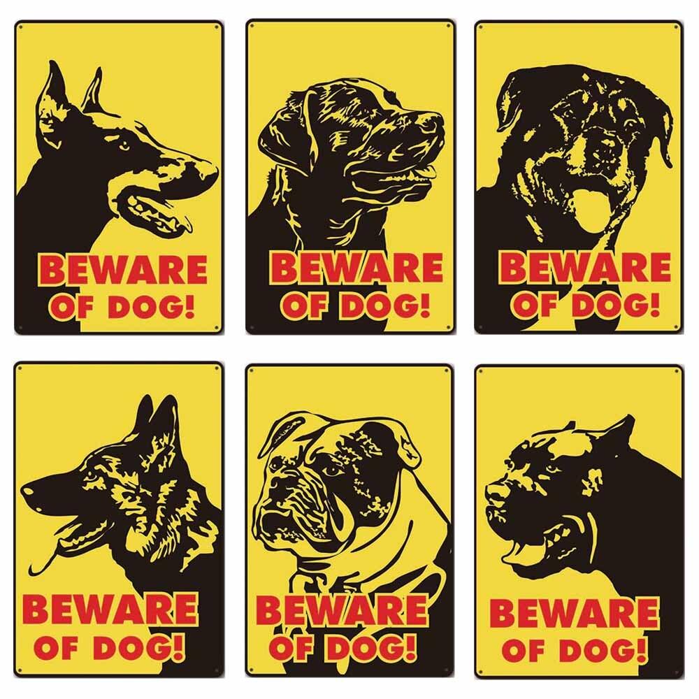 Cuidado con el perro Vintage Metal lata carteles advertencia perro Retro placa decoración de la pared