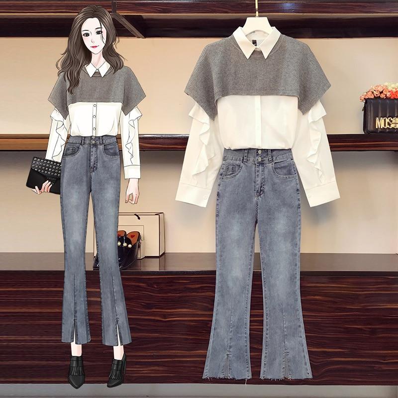 Новинка осени 2021, женская модная шаль большого размера, подходящая ко всему рубашка, Женский комплект из трех предметов