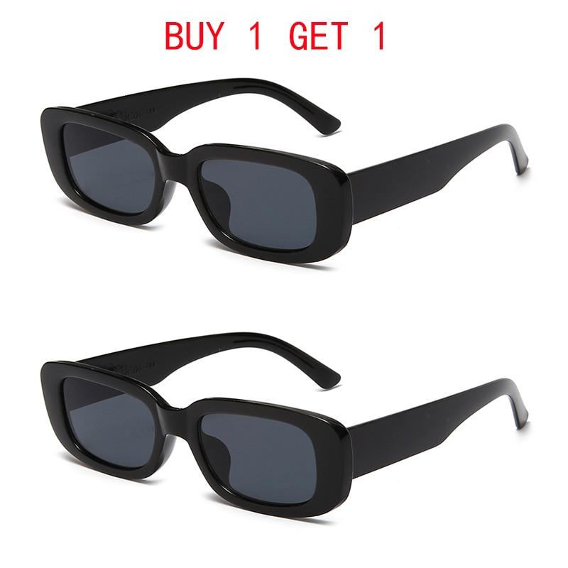 Купить один получить один бесплатно маленькие прямоугольные солнцезащитные очки для женщин винтажные брендовые дизайнерские Квадратные С...