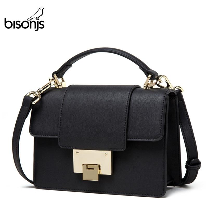 BISONJS, bolso de piel para mujer, nuevos bolsos de lujo, Bolsos De Mujer de diseñador, bolso de hombro a la moda, bolsos cruzados, B1548