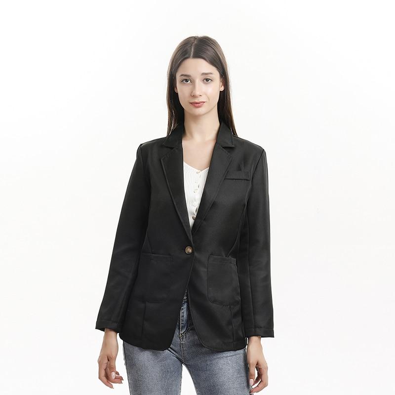 Spring New Fashion Blazer Jacket Women Casual Pockets Long Sleeve Work Suit Coat Office Lady Solid Slim Blazers 2021