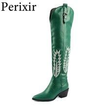Классические ковбойские сапоги в ковбойском стиле для женщин; Сапоги до колена в западном стиле с вышивкой и острым носком; Обувь на квадрат...