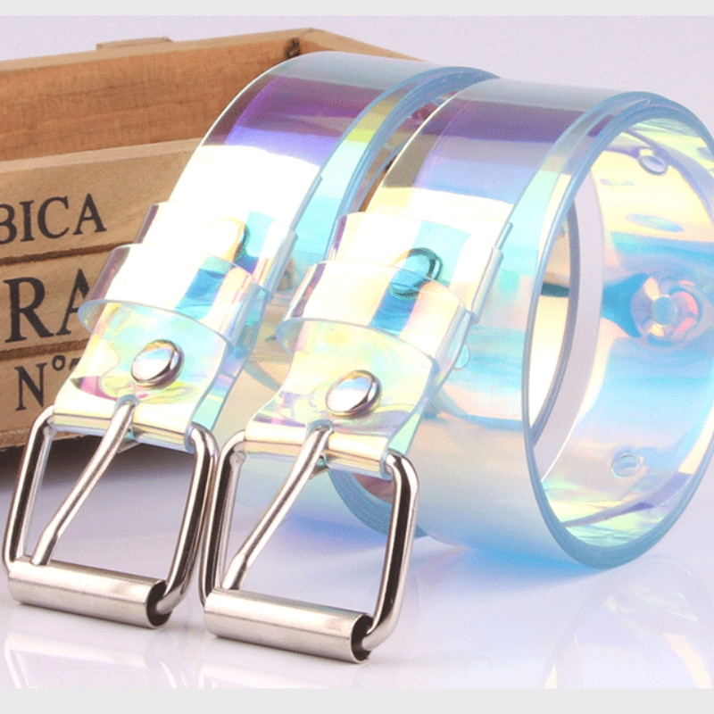Transparent Women Belt Laser Holographic Clear Buckle Wide Waist Bands Waistband Invisible Punk Waist Belt Women's Plastic Belts funny rectangle buckle embellished furry wide waist belt