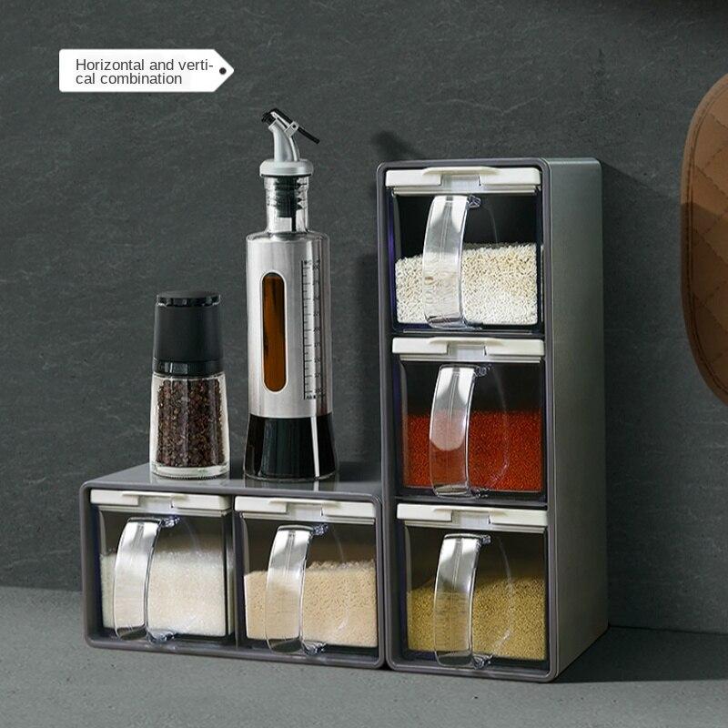 새로운 스파이스 랙 3 그리드 숟가락 주방 뚜껑 컨테이너 조미료 상자 허브 향신료 저장 조미료 항아리 요리 조미료 상자